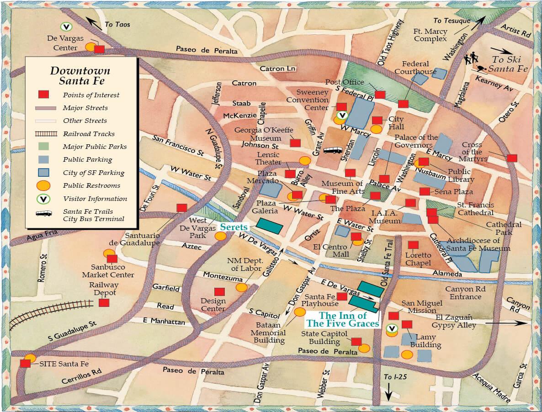 Five Graces Santa Fe Map