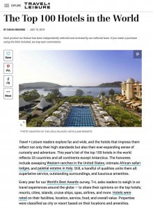 Travel+Leisure Best 100 Hotels World's Best Hotels 2019